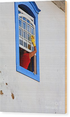 The Window Cleaner Wood Print