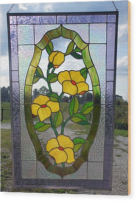 The Yellow Roses Stained Glass Panel Wood Print by Arlene  Wright-Correll