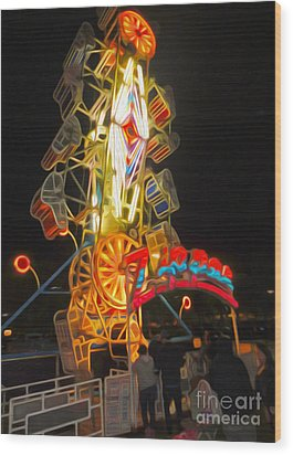 The Zipper - Carnival Ride Wood Print by Gregory Dyer