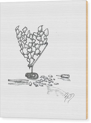 Then It Was Shattered - Sketch Wood Print by Robert Meszaros