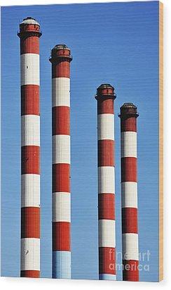 Thermal Powerplant Chimneys Wood Print by Sami Sarkis