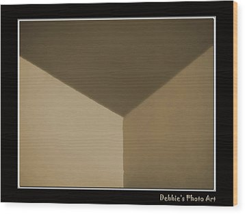 Think Outside Or Inside The Box    Optical Illusion Wood Print by Debbie Portwood