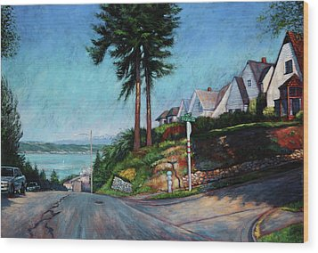 Wood Print featuring the painting Thirtieth And Cedar  by Charles Munn