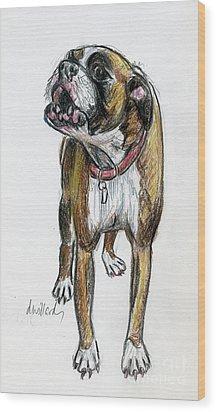 This Boxer Can Sing Wood Print by Deborah Willard