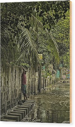 This Is The Philippines No.57 - Guess Im Gonna Get Wet Feet Wood Print by Paul W Sharpe Aka Wizard of Wonders