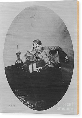 Thomas Edison, American Inventor Wood Print by U.S. Department of the Interior