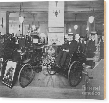 Thomas Edison In Quadricycle Wood Print by Photo Researchers