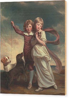 Thomas John Clavering And Catherine Mary Clavering Wood Print by George Romney
