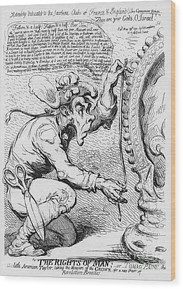 Thomas Paine Caricature Wood Print by Photo Researchers