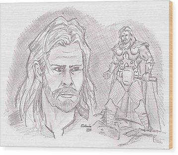 Thor Odinson- God Of Thunder Wood Print by Chris  DelVecchio