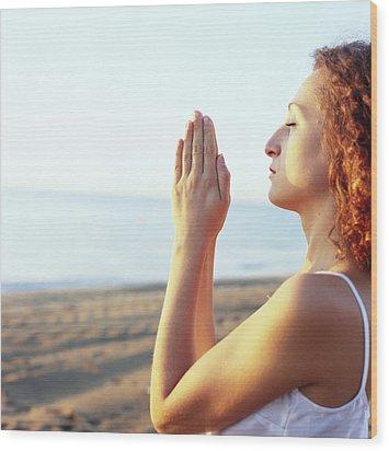 Thoughtful Woman Meditating Wood Print by Cristina Pedrazzini