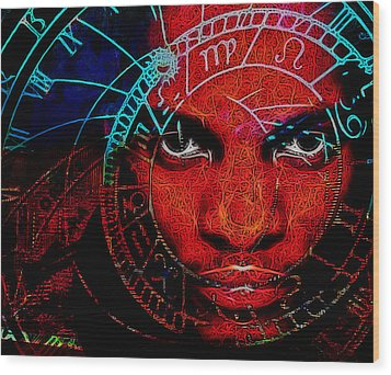 Thoughts Of Astronomy Wood Print by Devalyn Marshall