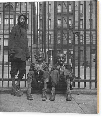 Three African American Boys In Harlem Wood Print by Everett