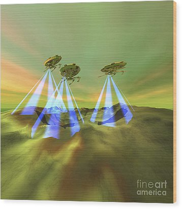 Three Alien Spaceships Steal Wood Print by Corey Ford