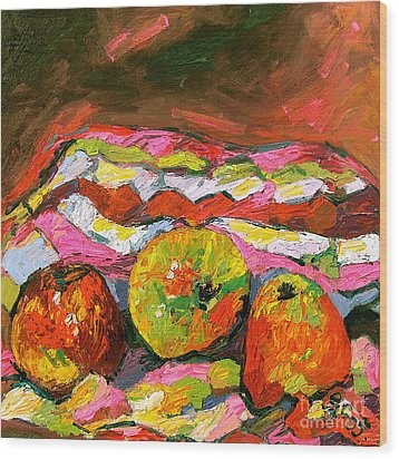 Three Apples On Patterned Cloth Wood Print by Ginette Callaway
