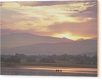 Three Belly Boats Golden Scenic View Wood Print by James BO  Insogna