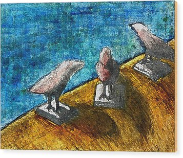 Three Birds Blue Wood Print by James Raynor