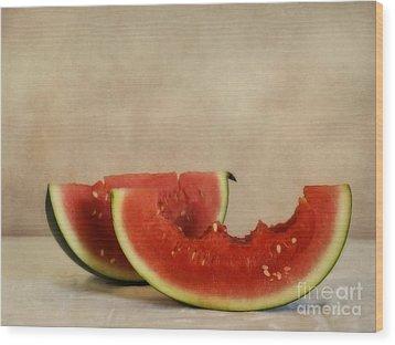 Three Bites Of Summer Wood Print by Priska Wettstein