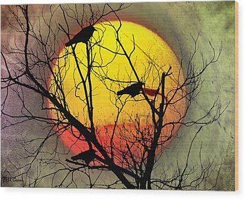 Three Blackbirds Wood Print