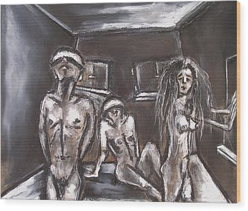 Three Blinded People Unable To Find A Way Out Wood Print