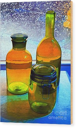 Three Bottles In Window Wood Print by Dale   Ford