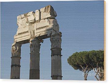 Three Columns And Architrave Temple Of Castor And Pollux Forum Romanum Rome Wood Print by Bernard Jaubert