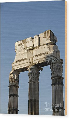 Three Columns And Architrave Temple Of Castor And Pollux Forum Romanum Rome Italy. Wood Print by Bernard Jaubert