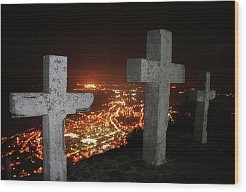 Three Crosses Wood Print