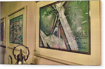 Three Cut Torn Folded 85-91 Wood Print by Glenn Bautista