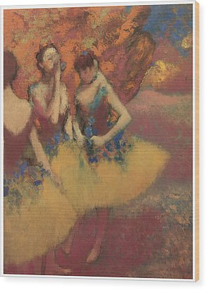 Three Dancers In Yellow Skirts Wood Print by Edgar Degas