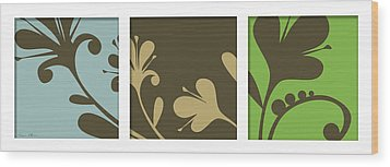 Three Decor Wood Print by Nomi Elboim