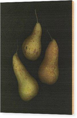 Three Golden Pears Wood Print by Deddeda