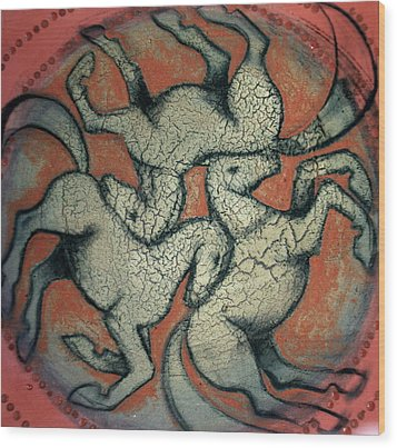 Three Horses 2 Wood Print by Sophy White