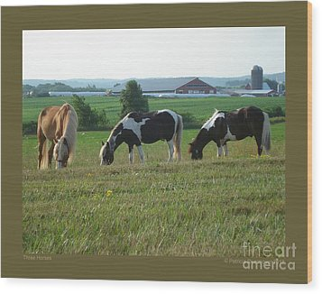 Three Horses Wood Print by Patricia Overmoyer