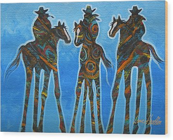 Three In The Blue Wood Print by Lance Headlee