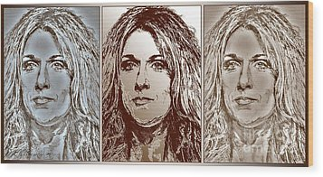 Three Interpretations Of Celine Dion Wood Print by J McCombie