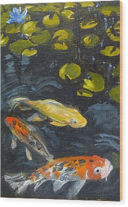 Three Koi And Lily Wood Print