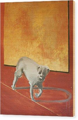 Three Legged Dog Wood Print by Jea DeVoe