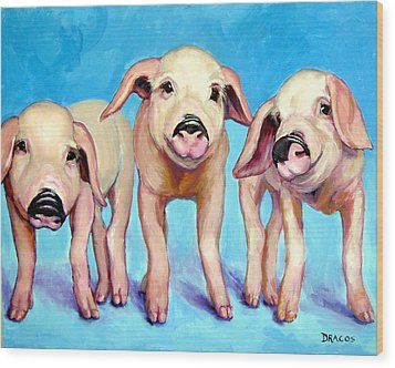 Three Little Piggies Wood Print by Dottie Dracos