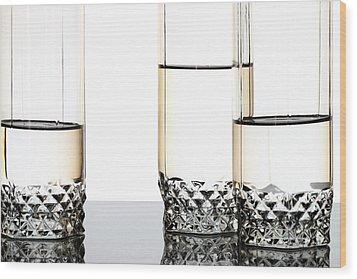 Three Luxury Glasses Wood Print by Dmitry Malyshev