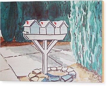 Three Mailboxes Sketchbook Project Down My Street Wood Print by Irina Sztukowski