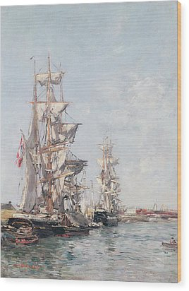 Three-masted Boats At The Quay In Deauville Harbour Wood Print by Eugene Louis Boudin