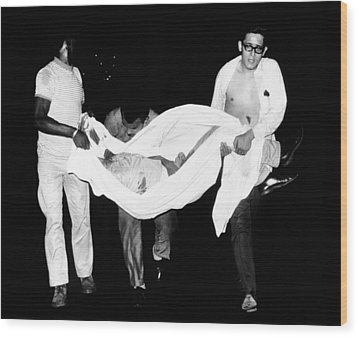 Three Men Carry Body Of A Youth Who Wood Print by Everett