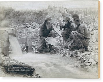 Three Men, With Dog, Panning For Gold Wood Print by Everett