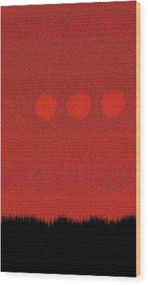 Three Moons In Red Sky Wood Print by James Mancini Heath