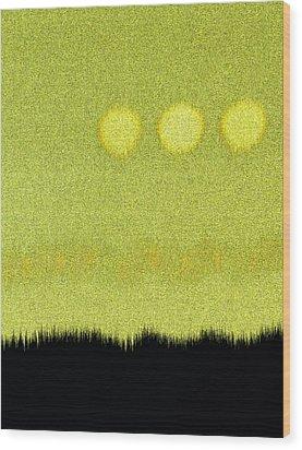 Three Moons In Yellow Sky Wood Print by James Mancini Heath