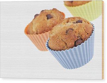 Three Muffins Wood Print by Jane Rix
