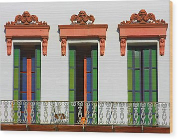 Three Of A Kind - The Windows In Old Sacramento Wood Print by Christine Till