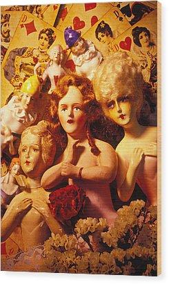 Three Old Dolls Wood Print by Garry Gay