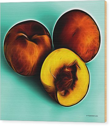Three Peaches - Cyan Wood Print by James Ahn